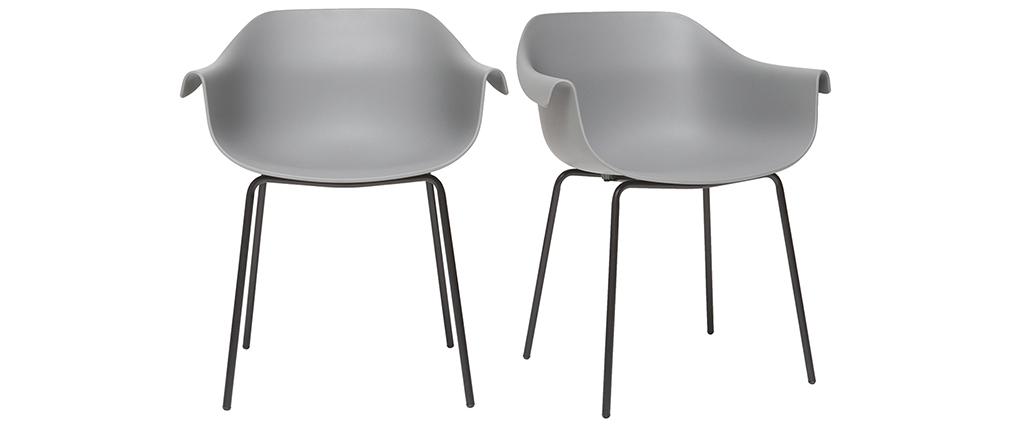 Chaises design gris et noir (lot de 2) COUTURE