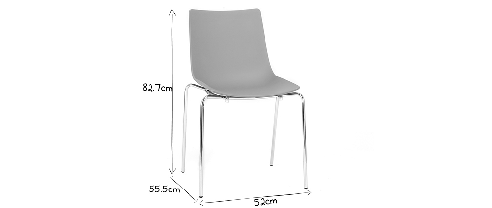 Chaises design grises empilables avec pieds en métal (lot de 2) CELEBRATION