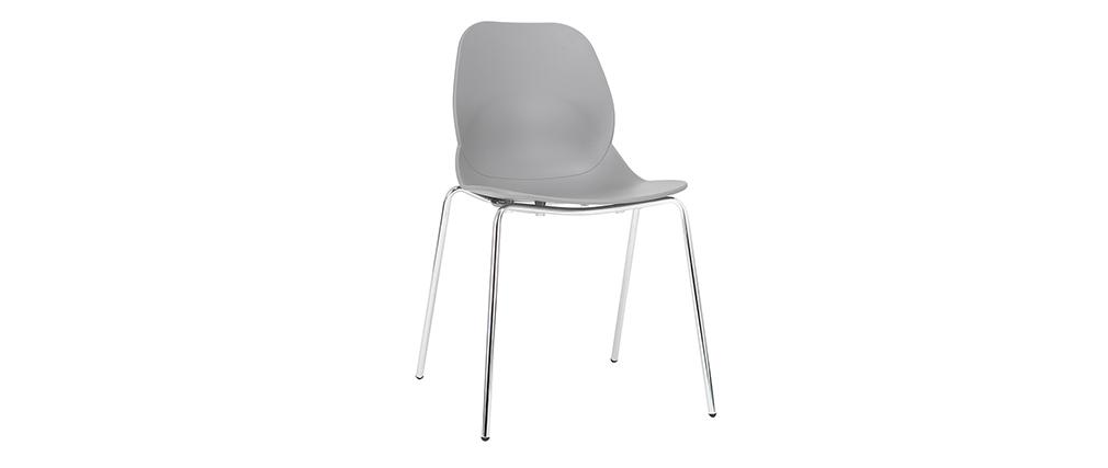 Chaises design grises empilables avec pieds métal (lot de 2) TROCADERO