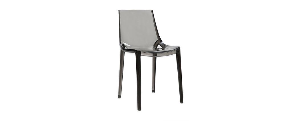 Chaises design grises fumées empilables intérieur / extérieur (lot de 2) YZEL
