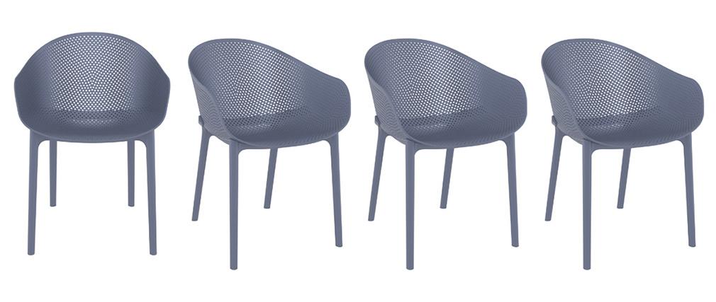 Chaises design grises intérieur / extérieur (lot de 4) OSKOL