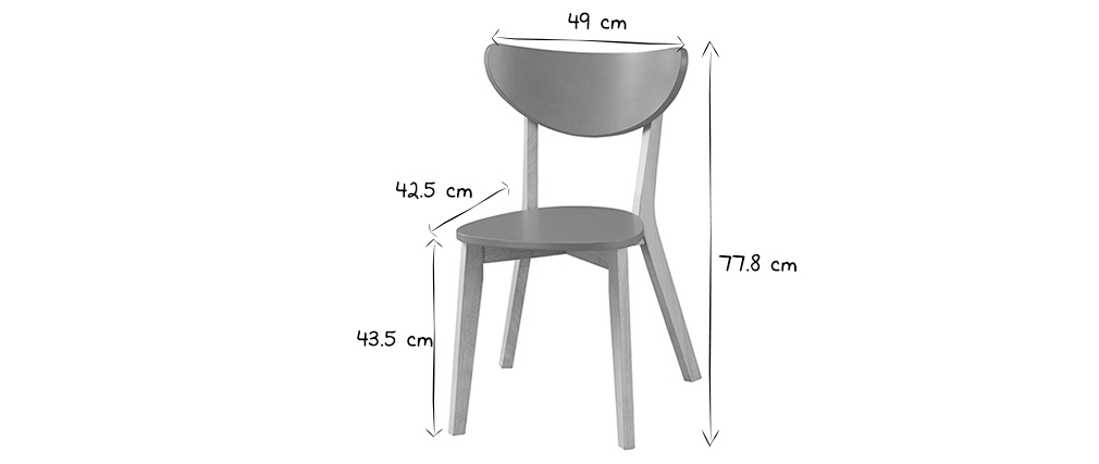Chaises design jaune pieds bois -  lot de 2 LEENA
