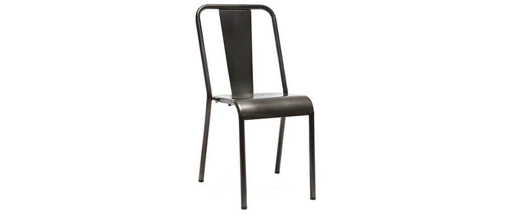 Chaises design métal inox (lot de 2) EVAN
