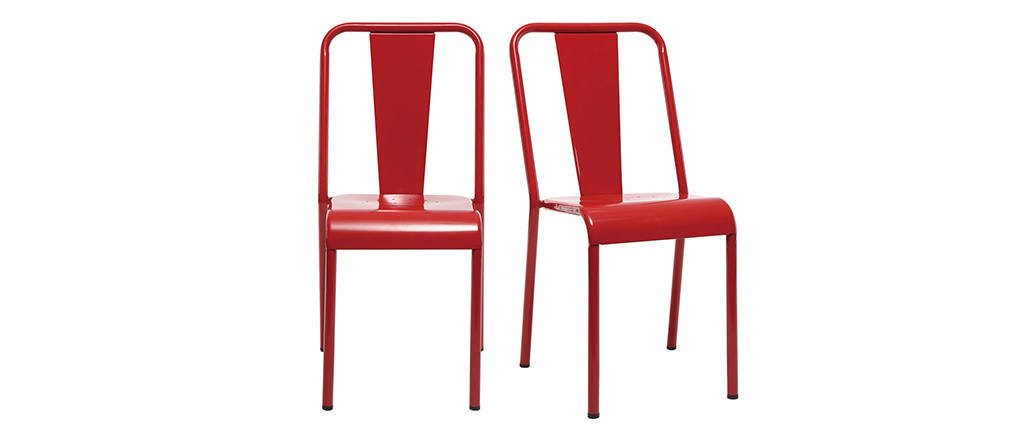 Chaises design métal rouge (lot de 2) EVAN