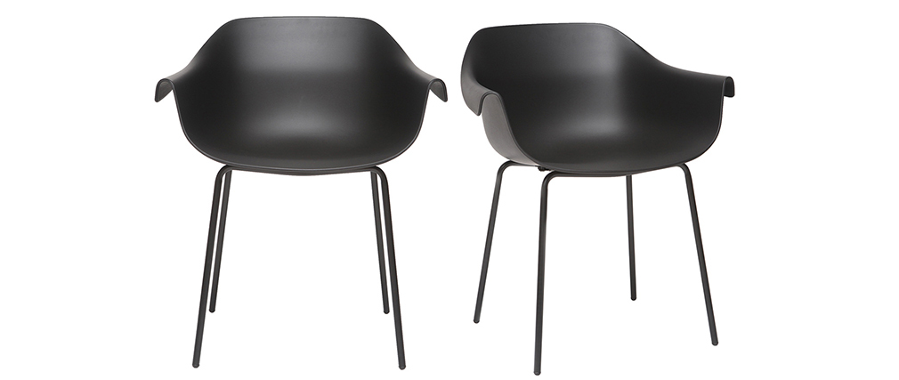 Chaises design noires (lot de 2) COUTURE