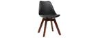 Chaises design noires avec pieds bois foncé (lot de 2) PAULINE