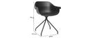 Chaises design noires avec pieds métal (lot de 2) COUTURE