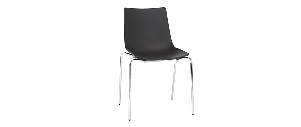 Chaises design noires empilables avec pieds en métal (lot de 2) CELEBRATION