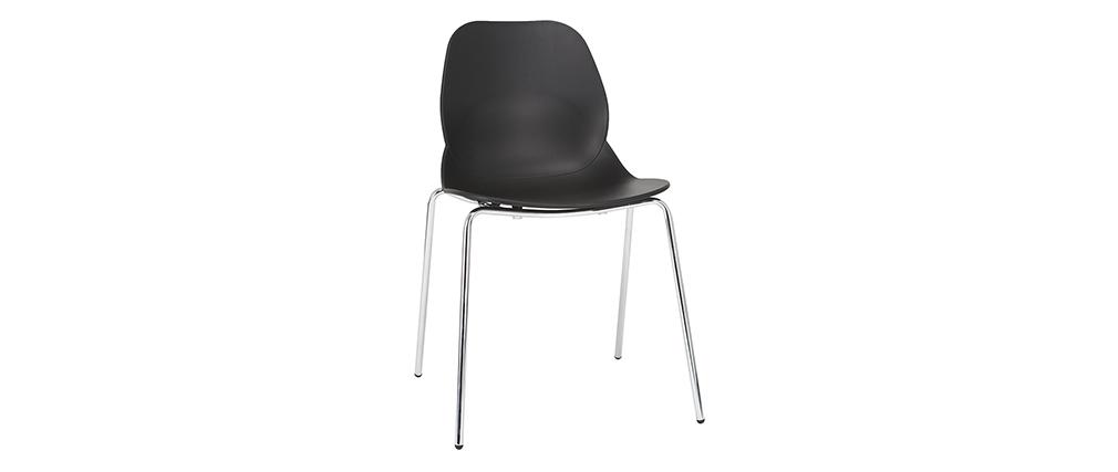 Chaises design noires empilables avec pieds métal (lot de 2) TROCADERO