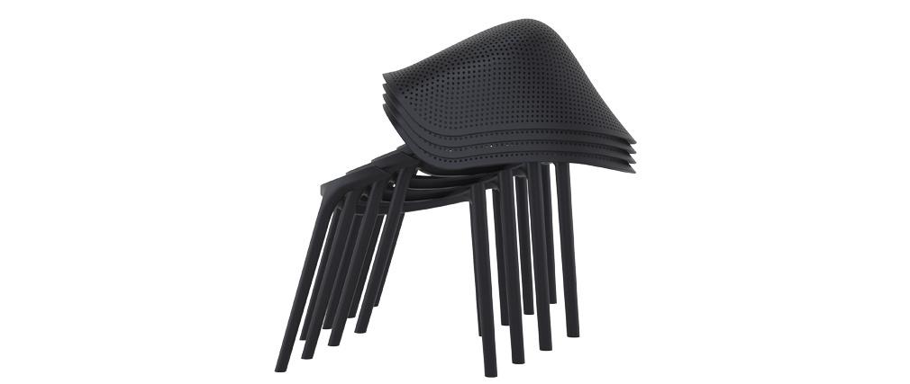 Chaises design noires intérieur / extérieur (lot de 4) OSKOL