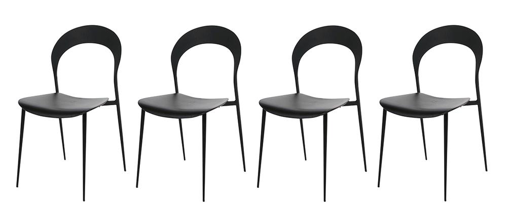 Chaises design noires lot de 4 slim miliboo - Lot de 4 chaises noires ...