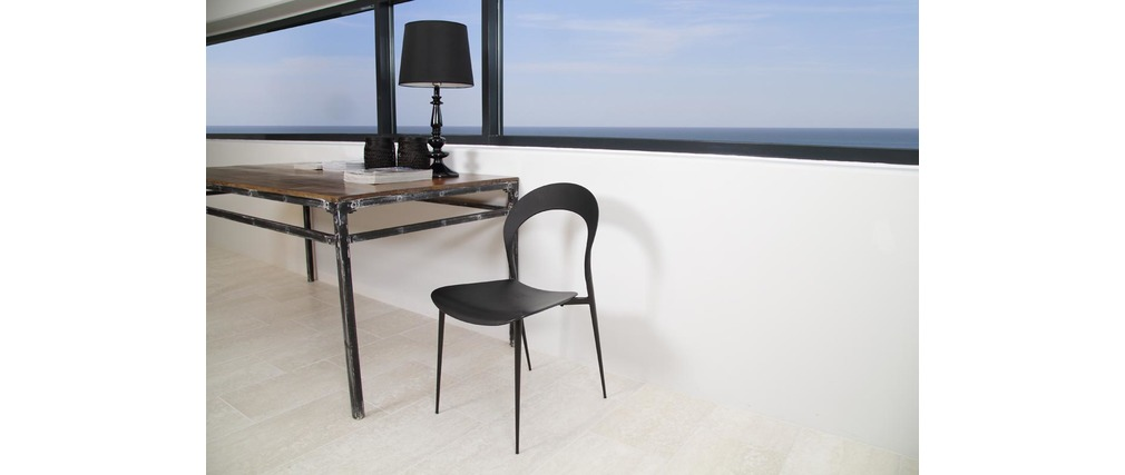 Chaises design noires lot de 4 slim miliboo - Lot de 4 chaises design ...