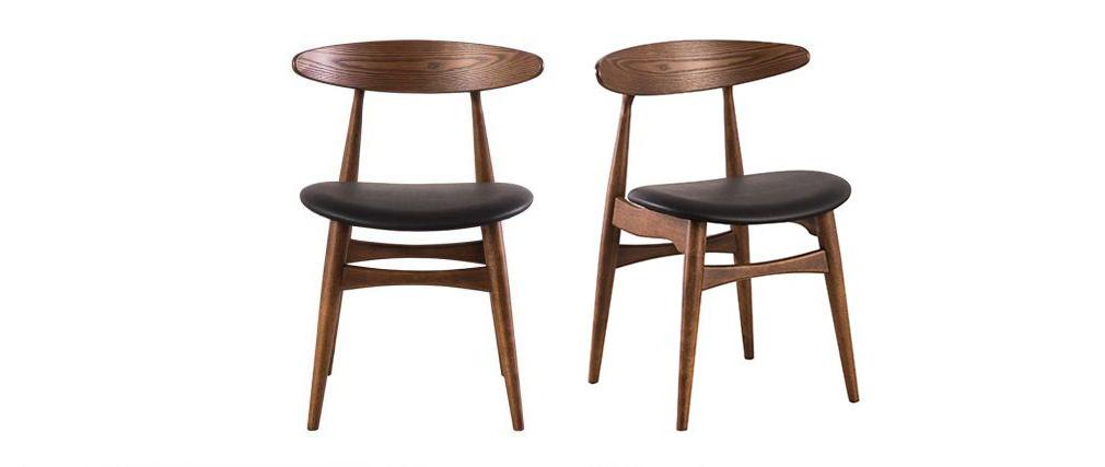 Chaises design noyer et noir (lot de 2) WALFORD