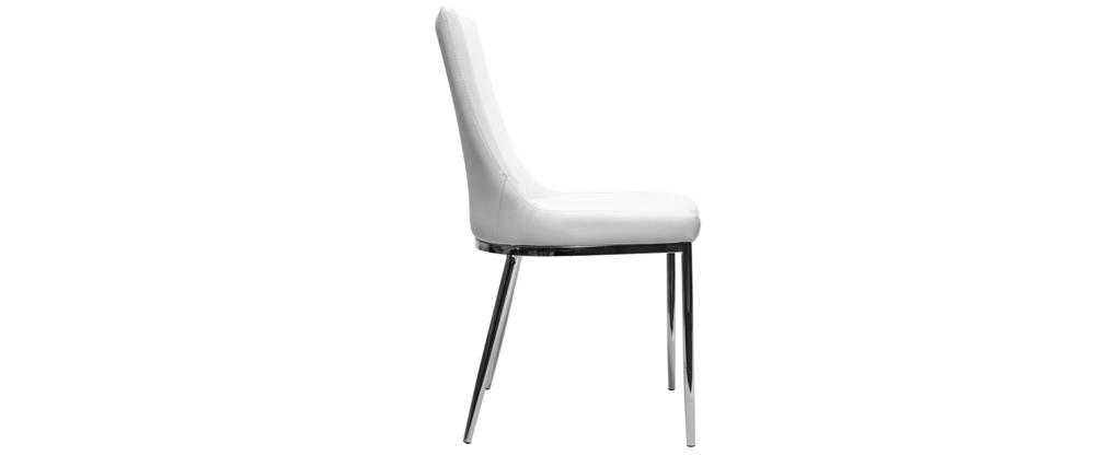 Chaises design polyuréthane blanc et acier chromé (lot de 2) IRA