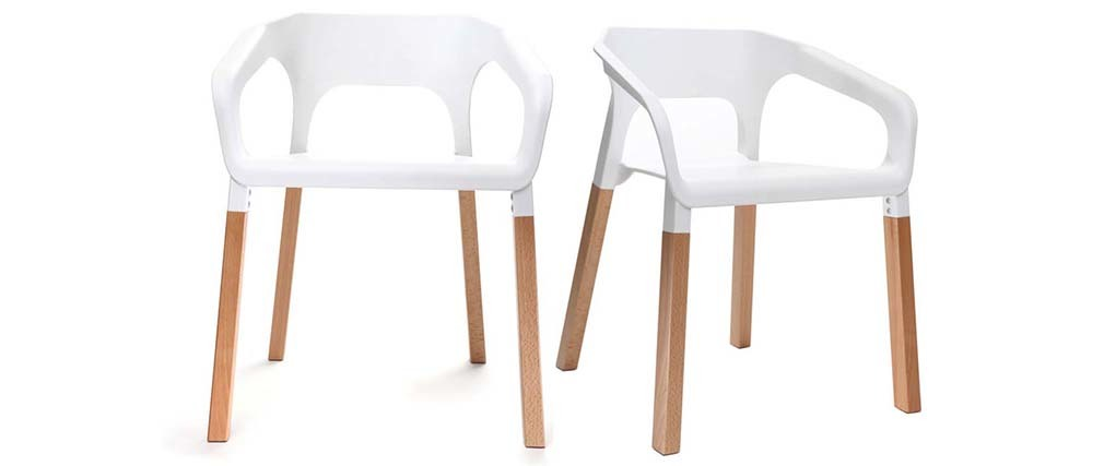 Chaises design scandinave blanches (lot de 2) HELIA