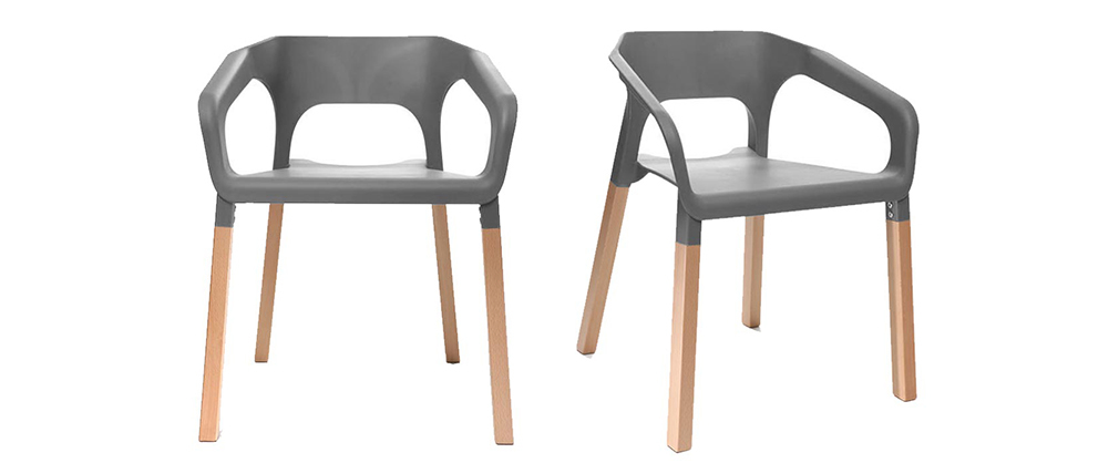 Chaises design scandinave grises (lot de 2) HELIA