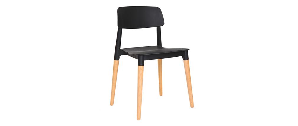 Chaises design scandinave noires (lot de 2) GILDA