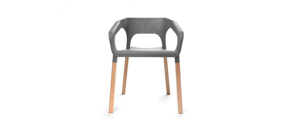 Chaises design scandinaves empilables grises (lot de 2) HELIA