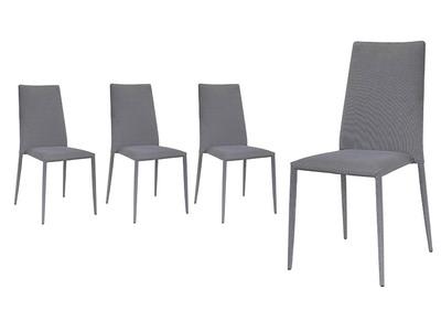 Chaises design tissu gris lot de 4 TALOS