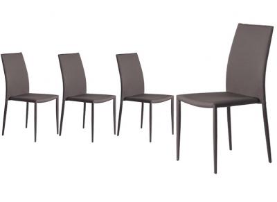 Chaises design tissu taupe lot de 4 TALOS