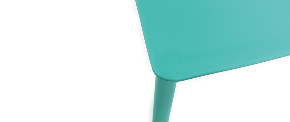 Chaises design turquoise polypropylène empilables (lot de 2) ANNA