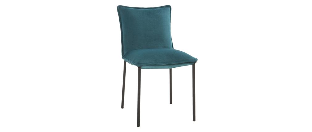 Chaises design velours bleu pétrole (lot de 2) SOLACE