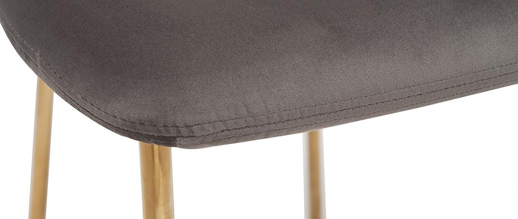 Chaises design velours gris foncé et métal doré (lot de 2) LEPIDUS
