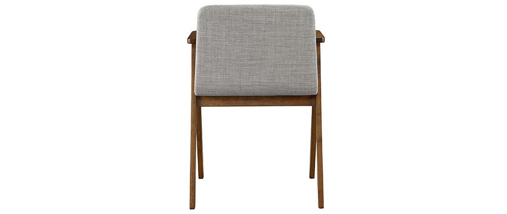 Chaises design vintage noyer et tissu gris (lot de 2) DANA