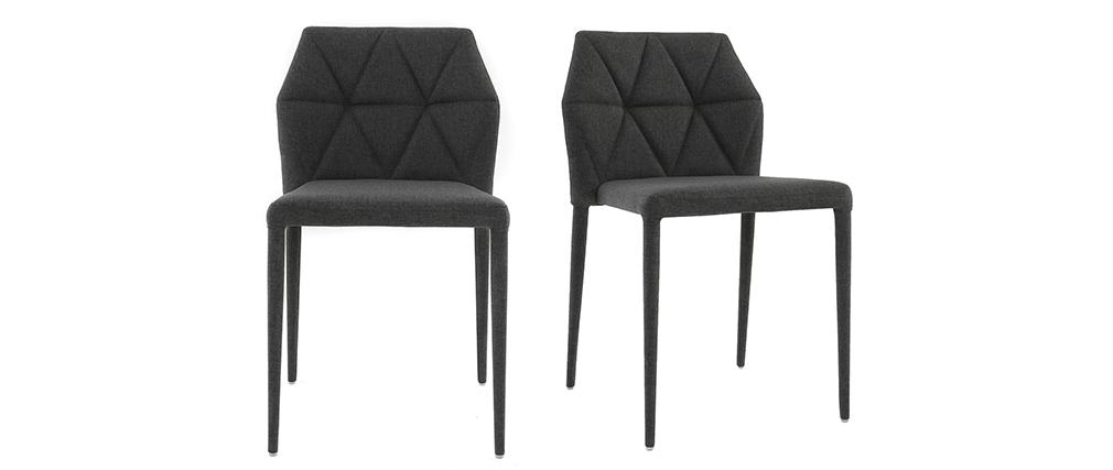 Chaises empilables design grises (lot de 2) KARLA
