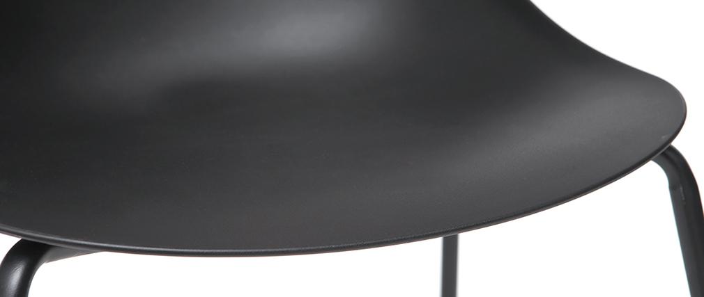 Chaises empilables design noires pieds métal (lot de 2) CONCHA