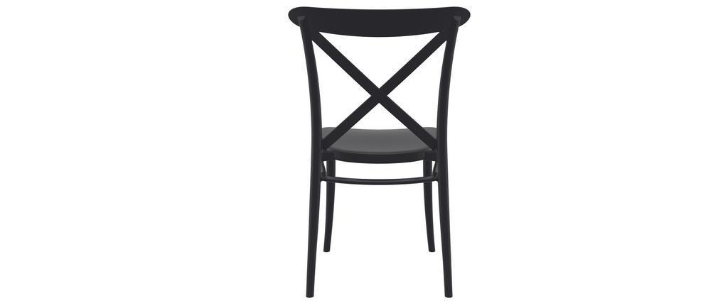 Chaises empilables noires intérieur / extérieur (lot de 4) GERMAIN