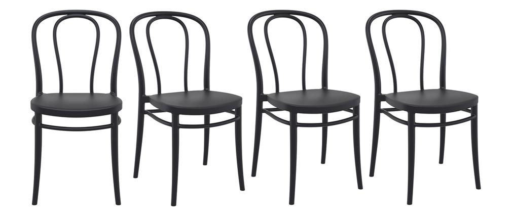 Chaises empilables noires intérieur / extérieur (lot de 4) MATTY