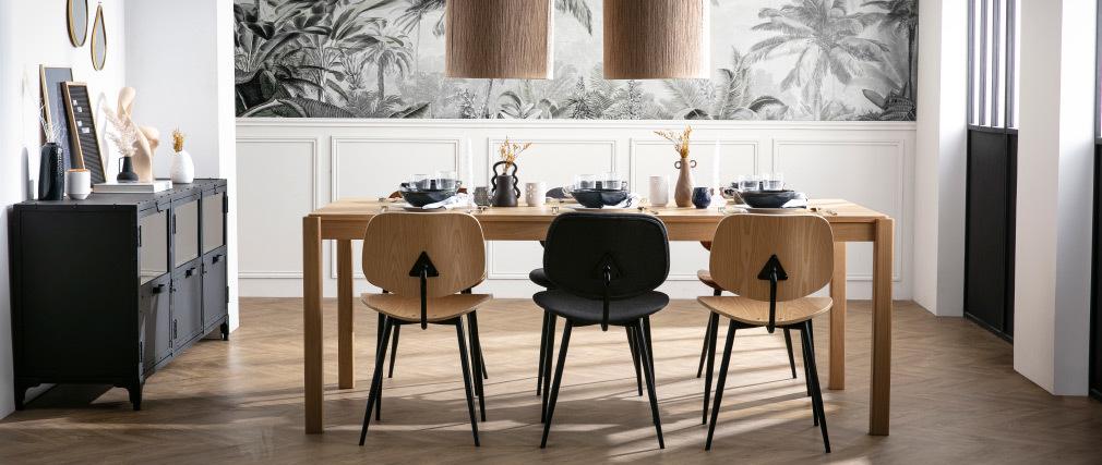 Chaises en bois clair et métal noir (lot de 2) TOBIAS
