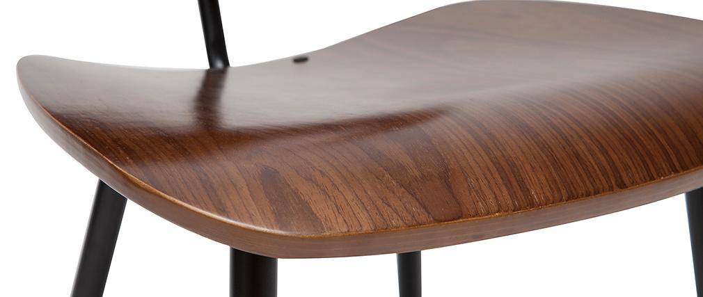 Chaises en bois foncé et métal noir (lot de 2) TOBIAS