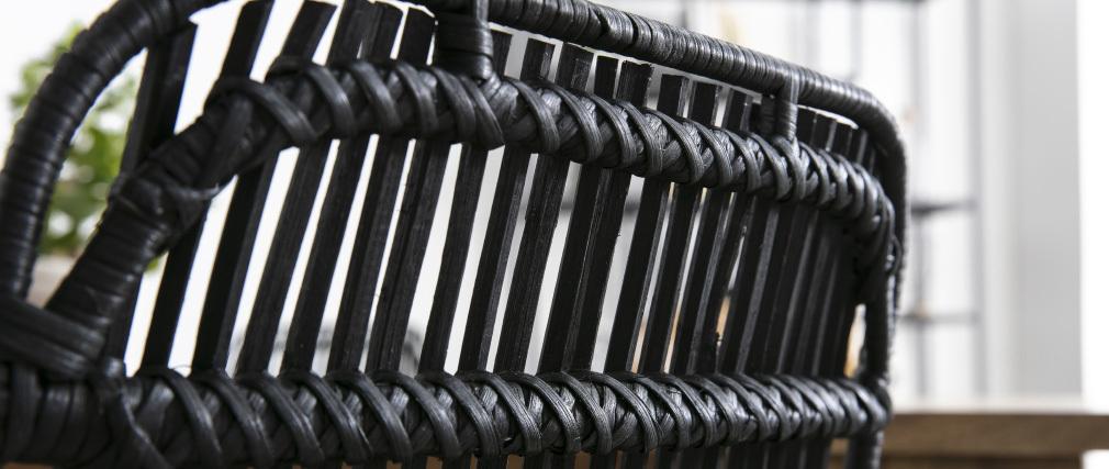 Chaises en rotin naturel peint en noir (lot de 2) MALACCA