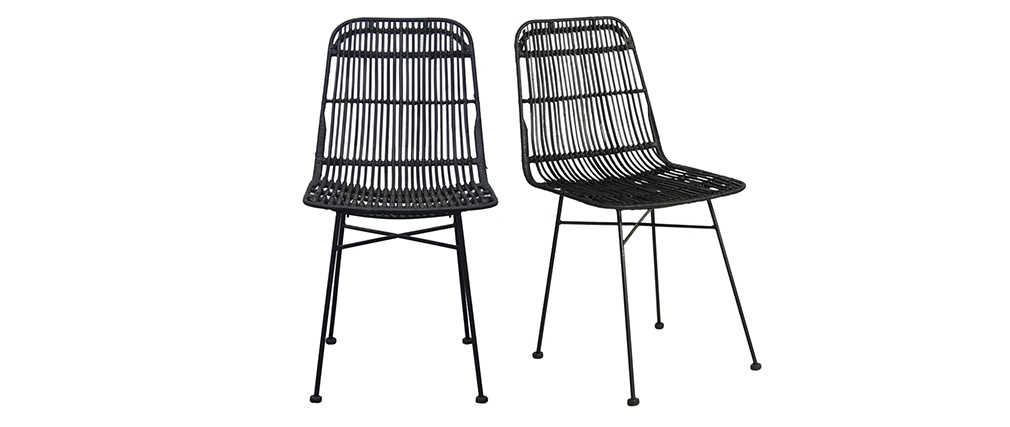 Chaises en rotin peint en noir (lot de 2) MALACCA