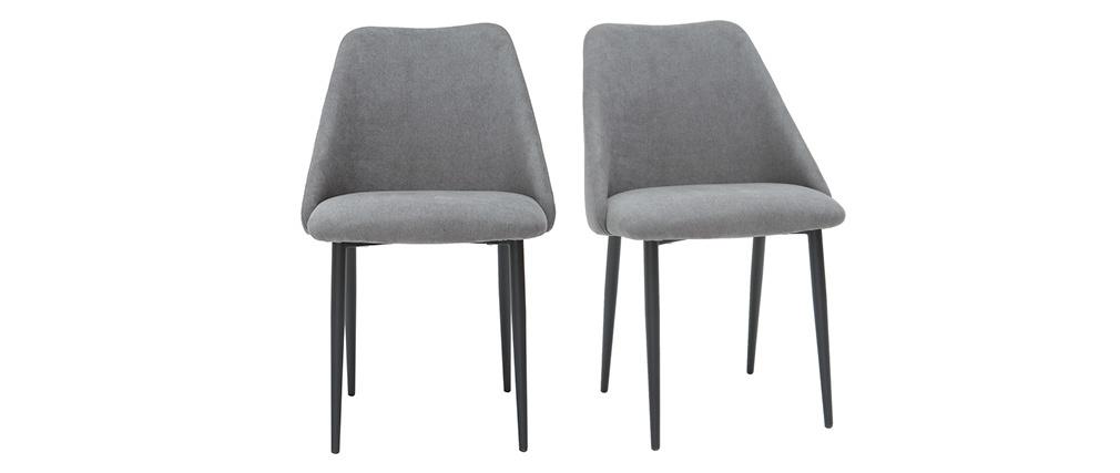 Chaises en tissu effet velours gris (lot de 2) ELLA