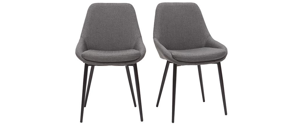 Chaises en tissu gris clair (lot de 2) HOLO - Miliboo & Stéphane Plaza
