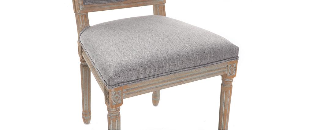 Chaises en tissu gris clair pieds bois clair (lot de 2) AMAURY