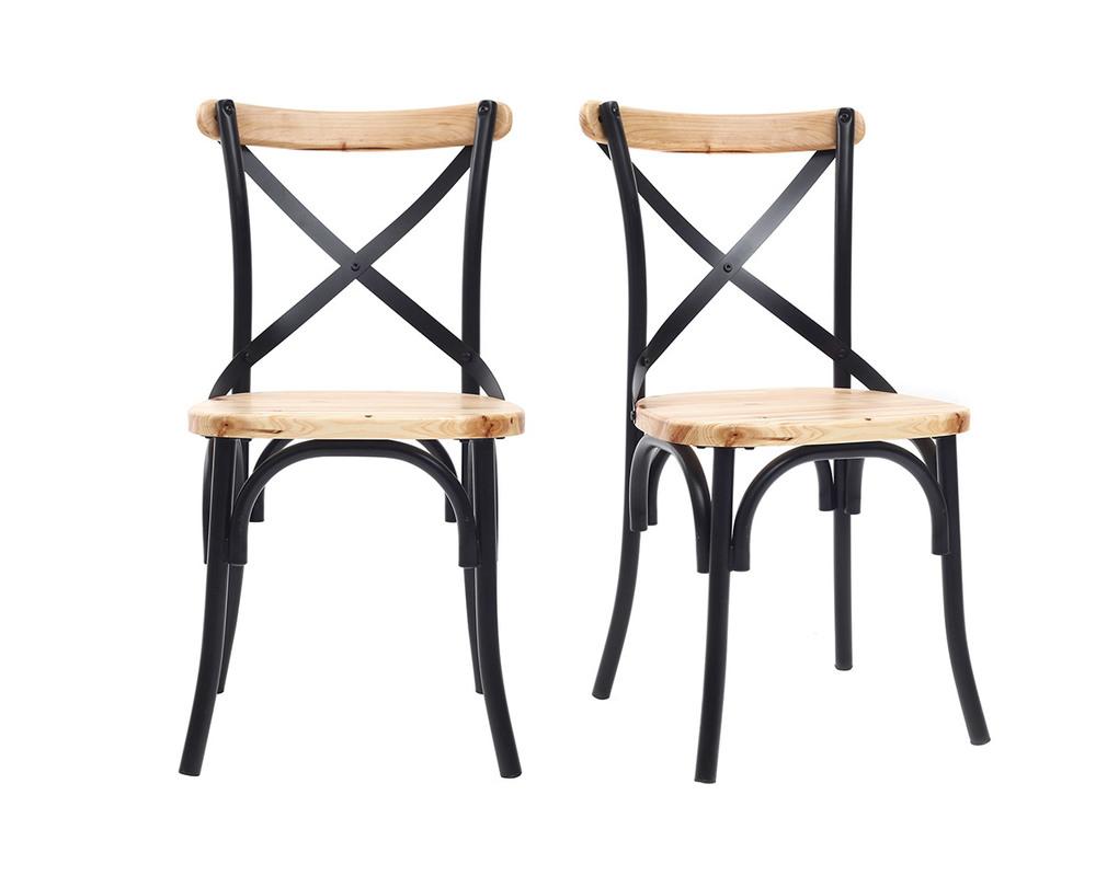 Chaise Bois Et Metal Industriel noir industrielles de chaises métal et boislot 2jake en
