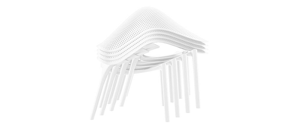 Chaises lounge blanches intérieur / extérieur (lot de 4) OSKOL