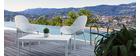 Chaises lounge empilables blanches intérieur / extérieur (lot de 4) OSKOL