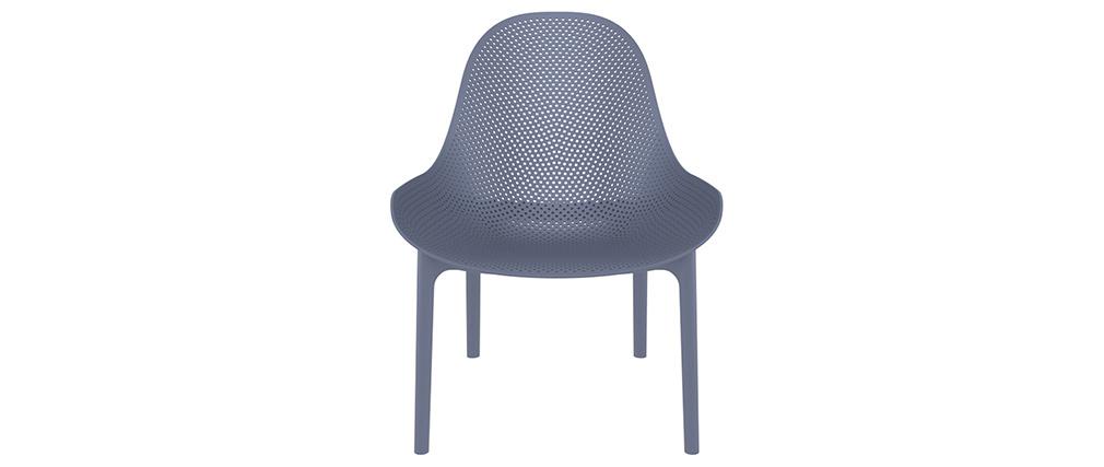 Chaises lounge empilables grises intérieur / extérieur (lot de 4) OSKOL