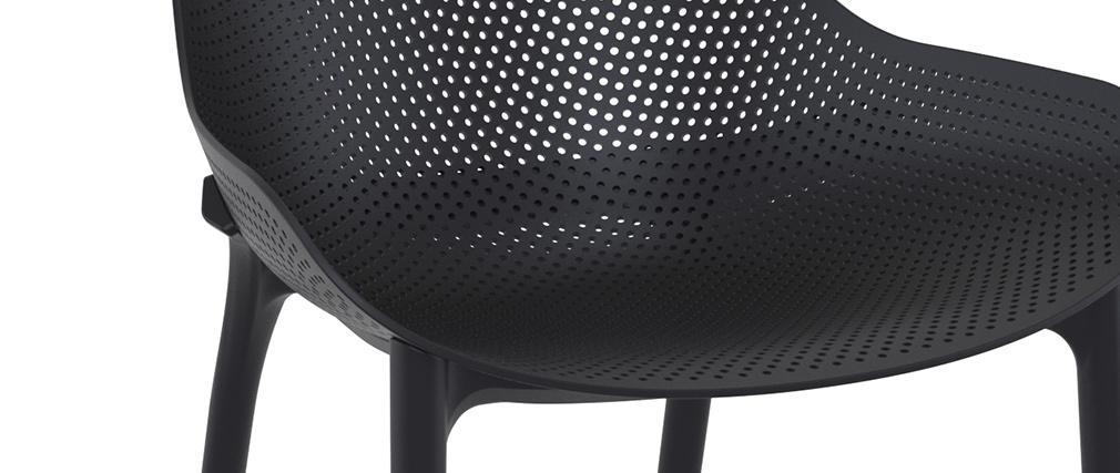 Chaises lounge noires intérieur / extérieur (lot de 4) OSKOL