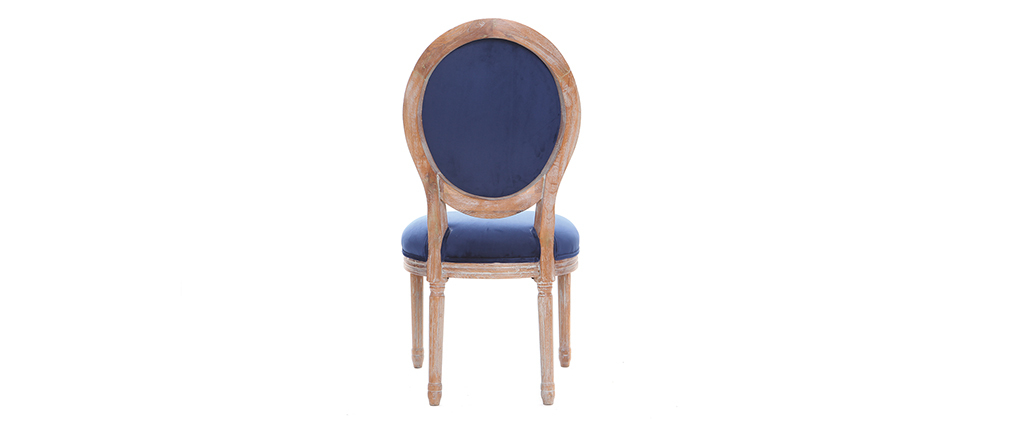 Chaises médaillon velours bleu nuit pieds bois clair (lot de 2) LEGEND