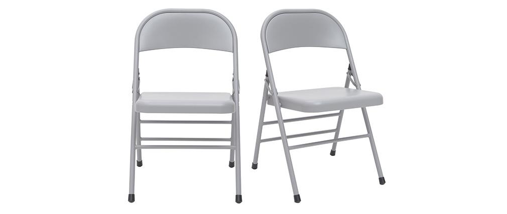 Chaises pliantes grises (lot de 2) ALI