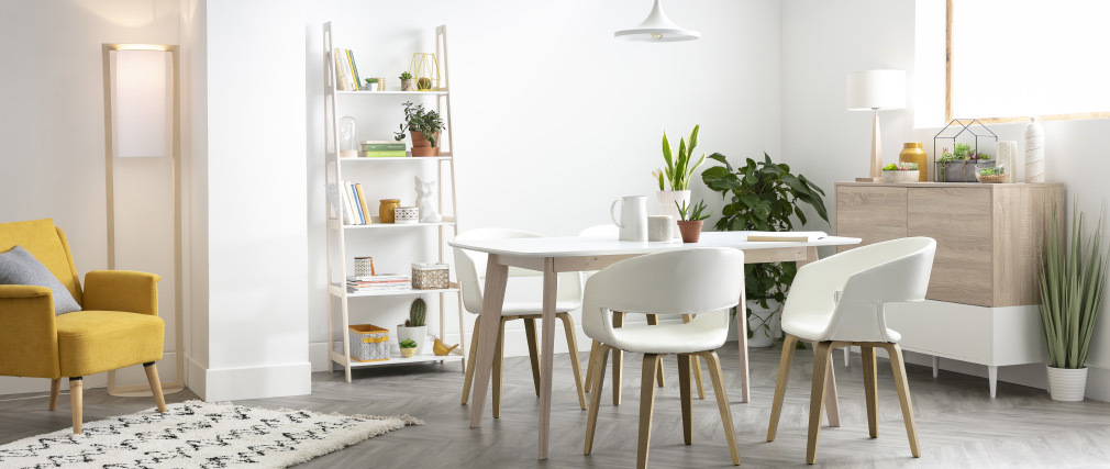 Chaises scandinaves blanc et bois (lot de 2) SLAM