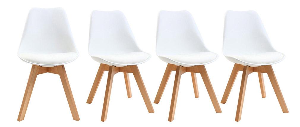 Chaises scandinaves blanc et bois clair (lot de 4) PAULINE