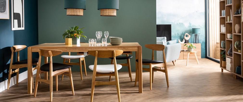 Chaises scandinaves bois clair et blanc (lot de 2) WALFORD