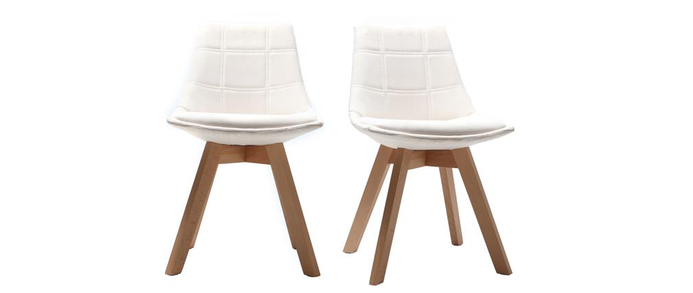 Chaises scandinaves en tissu blanc cassé et bois (lot de 2) MATILDE